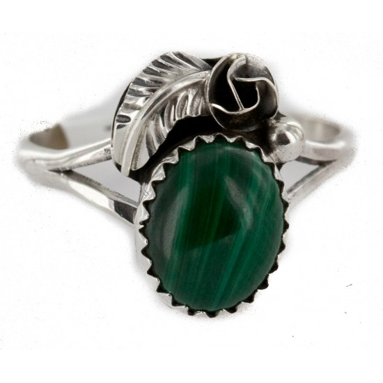Handmade Certified Authentic Navajo .925 Sterling Silver Natural Malachite Native American Ring Size 6 26203-31 All Products NB151224000809-31 26203-31 (by LomaSiiva)
