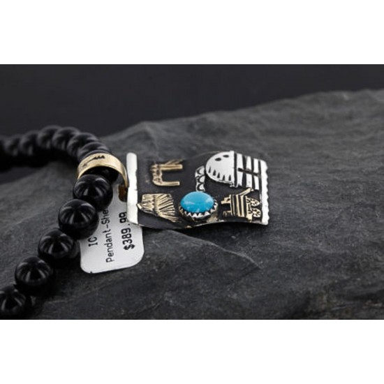 12kt Gold Filled .925 Sterling Silver Handmade Storyteller Certified Authentic Navajo Turquoise Native American Necklace 370985190043 All Products 370985190043 370985190043 (by LomaSiiva)
