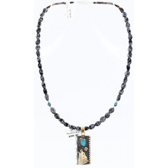 12kt Gold Filled .925 Sterling Silver Handmade Wolf and Moon Certified Authentic Navajo Turquoise Native American Necklace 371011756447 All Products 371011756447 371011756447 (by LomaSiiva)