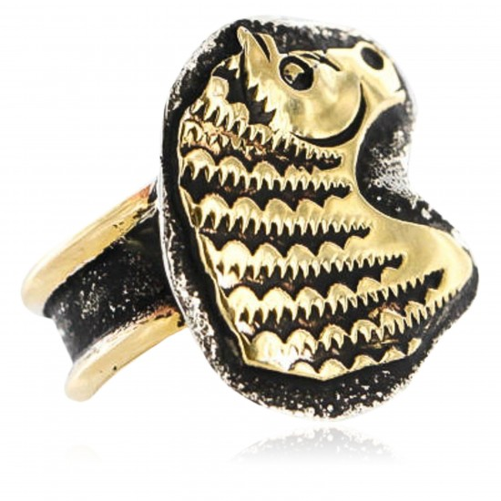 12kt Gold Filled .925 Sterling Silver Real Handmade Buffalo Certified Authentic Navajo Native American Ring  390848531705 All Products 12658-6 390848531705 (by LomaSiiva)