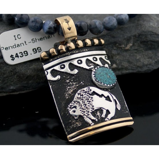 12kt Gold Filled and .925 Sterling Silver Handmade Buffalo Certified Authentic Navajo Turquoise Native American Necklace 370877325260 Clearance 370877325260 370877325260 (by LomaSiiva)