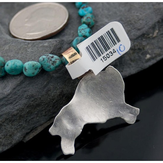 12kt Gold Filled and .925 Sterling Silver Handmade Buffalo Certified Authentic Navajo Turquoise Native American Necklace 390648410475 All Products 390648410475 390648410475 (by LomaSiiva)