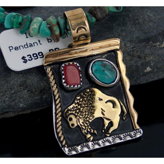 12kt Gold Filled and .925 Sterling Silver Handmade Buffalo Certified Authentic Navajo Turquoise Native American Necklace 390650784994 All Products 390650784994 390650784994 (by LomaSiiva)