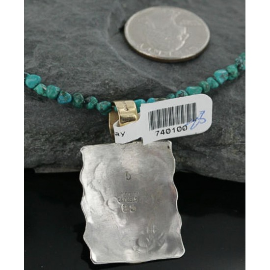 12kt Gold Filled and .925 Sterling Silver Handmade Buffalo Certified Authentic Navajo Turquoise Native American Necklace 390678601326 All Products 390678601326 390678601326 (by LomaSiiva)