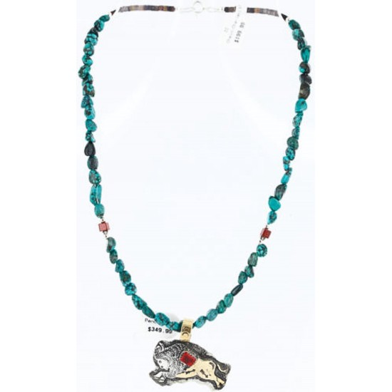 12kt Gold Filled and .925 Sterling Silver Handmade Buffalo Certified Authentic Navajo Turquoise Native American Necklace 390781114665 All Products 390781114665 390781114665 (by LomaSiiva)