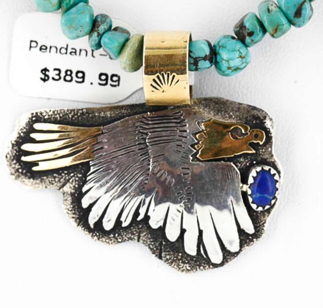 12kt Gold Filled and .925 Sterling Silver Handmade Eagle Certified Authentic Navajo Denim Lapis Native American Necklace 371051376146 All Products 371051376146 371051376146 (by LomaSiiva)