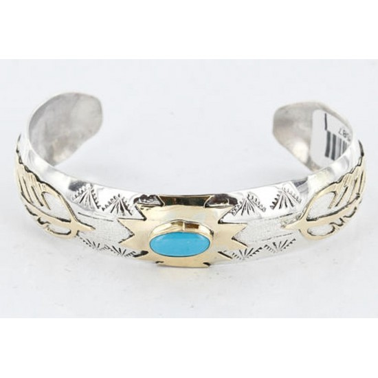 12kt Gold Filled and .925 Sterling Silver Handmade FEATHER Certified Authentic Navajo Turquoise Native American Bracelet 390800842243 All Products 12587-1 390800842243 (by LomaSiiva)