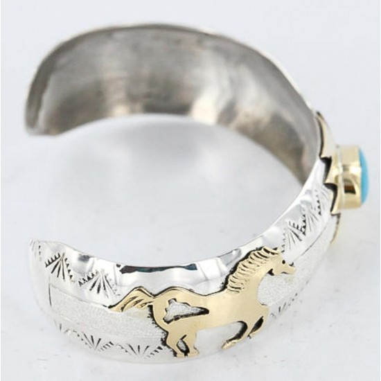 12kt Gold Filled and .925 Sterling Silver Handmade Horse Certified Authentic Navajo Turquoise Native American Bracelet 390800719545 All Products 12587-2D 390800719545 (by LomaSiiva)