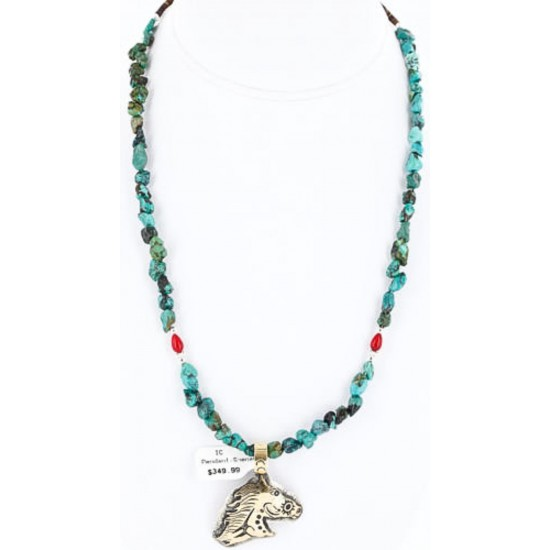 12kt Gold Filled and .925 Sterling Silver Handmade Horse Certified Authentic Navajo Turquoise Native American Necklace 390788953079 All Products 390788953079 390788953079 (by LomaSiiva)