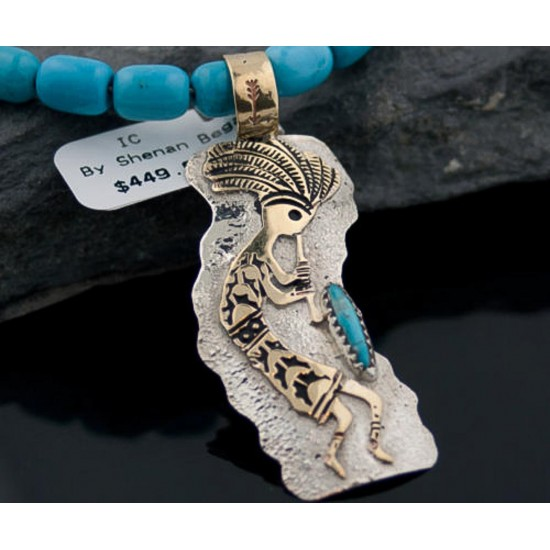 12kt Gold Filled and .925 Sterling Silver Handmade KOKOPELI Certified Authentic Navajo Turquoise Native American Necklace 390648379820 All Products 390648379820 390648379820 (by LomaSiiva)