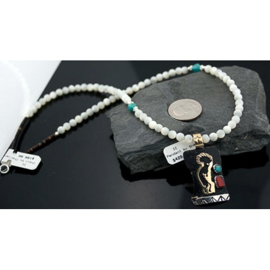 12kt Gold Filled and .925 Sterling Silver Handmade KOKOPELLI Certified Authentic Navajo Turquoise Native American Necklace 370882589618 Clearance 370882589618 370882589618 (by LomaSiiva)
