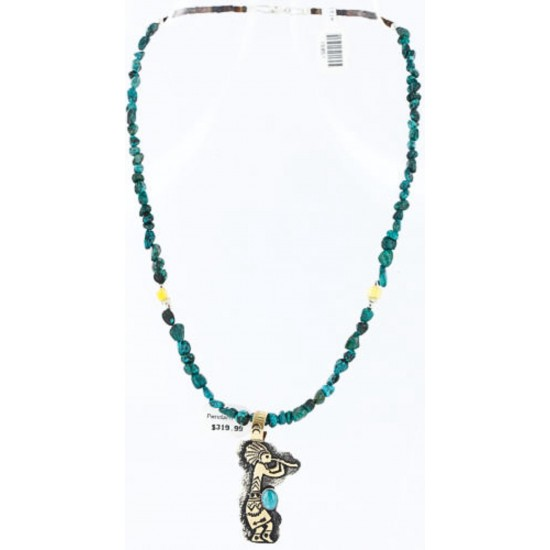 12kt Gold Filled and .925 Sterling Silver Handmade KOKOPELLI Certified Authentic Navajo Turquoise Native American Necklace 371011564672 All Products 371011564672 371011564672 (by LomaSiiva)