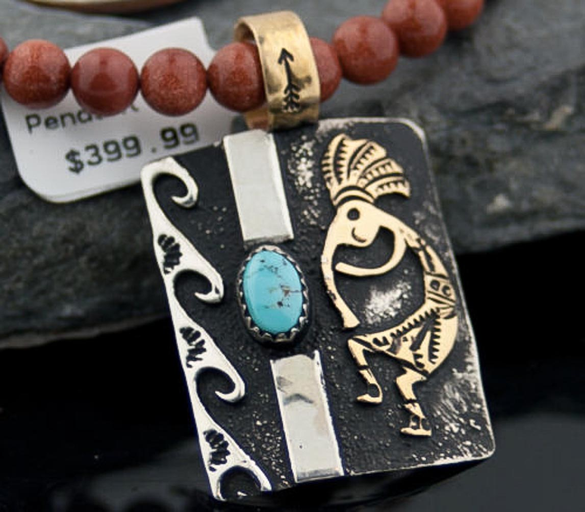 12kt Gold Filled and .925 Sterling Silver Handmade KOKOPELLI Certified Authentic Navajo Turquoise Native American Necklace 390643117492 All Products 390643117492 390643117492 (by LomaSiiva)