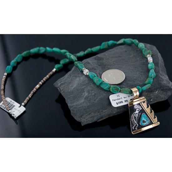 12kt Gold Filled and .925 Sterling Silver Handmade KOKOPELLI Certified Authentic Navajo Turquoise Native American Necklace 390650216576 All Products 390650216576 390650216576 (by LomaSiiva)