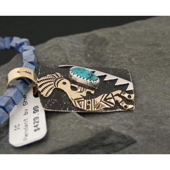 12kt Gold Filled and .925 Sterling Silver Handmade KOKOPELLI Certified Authentic Navajo Turquoise Native American Necklace 390784009992 All Products 390784009992 390784009992 (by LomaSiiva)