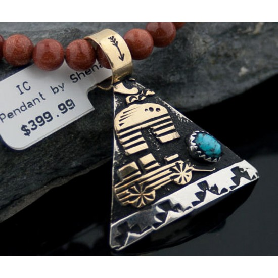 12kt Gold Filled and .925 Sterling Silver Handmade Storyteller Certified Authentic Navajo Turquoise Native American Necklace 370877295917 All Products 370877295917 370877295917 (by LomaSiiva)