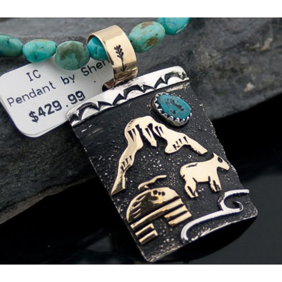 12kt Gold Filled and .925 Sterling Silver Handmade Storyteller Certified Authentic Navajo Turquoise Native American Necklace 390645852716 All Products 390645852716 390645852716 (by LomaSiiva)