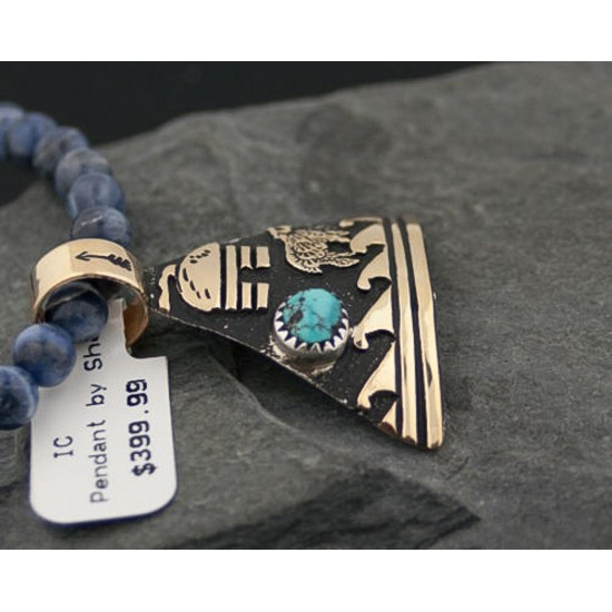 12kt Gold Filled and .925 Sterling Silver Handmade Storyteller Certified Authentic Navajo Turquoise Native American Necklace 390647486961 All Products 390647486961 390647486961 (by LomaSiiva)