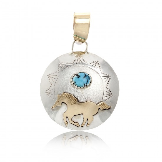 12kt Gold Filled and .925 Sterling Silver Horse Certified Authentic Handmade Very Delicate Navajo Native American Natural Turquoise Pendant 24510 Pendants NB160422233542 24510 (by LomaSiiva)