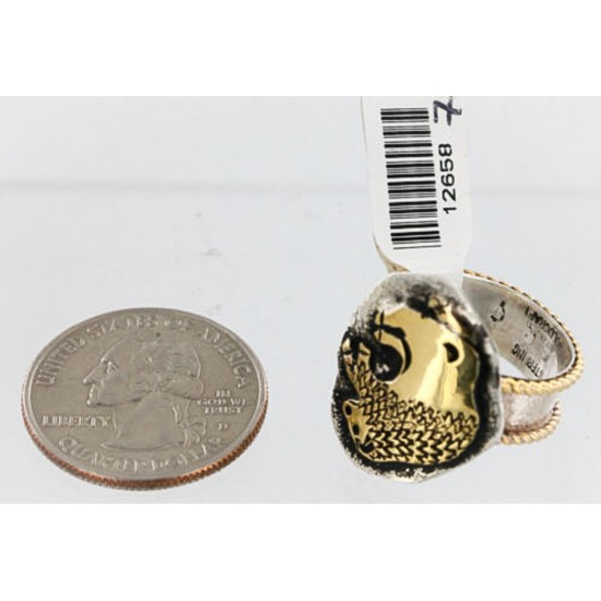 12kt Gold Filled and .925 Sterling Silver Real Handmade Certified Authentic Buffalo Navajo Native American Ring  390849053137 All Products 390849053137 390849053137 (by LomaSiiva)