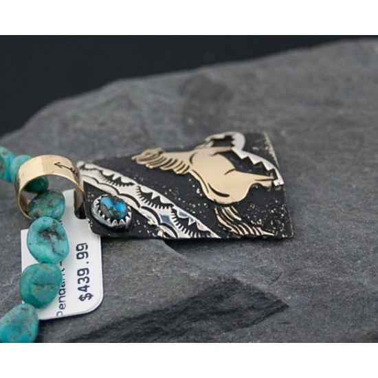 12kt Gold Filled Handmade Horse Certified Authentic .925 Sterling Silver Navajo Turquoise Native American Necklace 370882633206 Clearance 370882633206 370882633206 (by LomaSiiva)