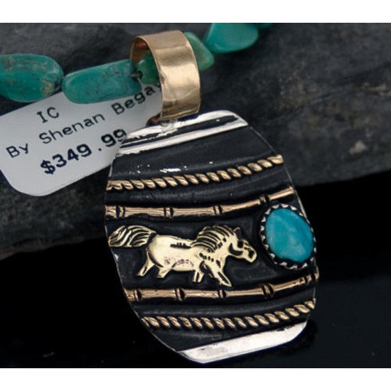 12kt Gold Filled Handmade Horse Certified Authentic .925 Sterling Silver Navajo Turquoise Native American Necklace 370885895069 All Products 370885895069 370885895069 (by LomaSiiva)