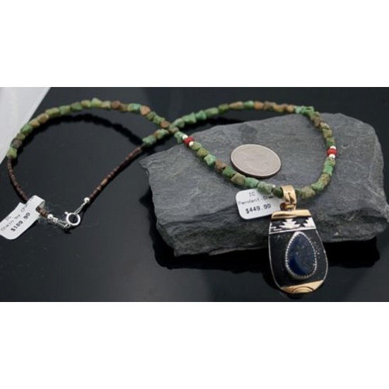 12kt Gold Filled Handmade Mountain Certified Authentic .925 Sterling Silver Navajo LAPIS and Turquois Native American Necklace 390613921458 All Products 390613921458 390613921458 (by LomaSiiva)