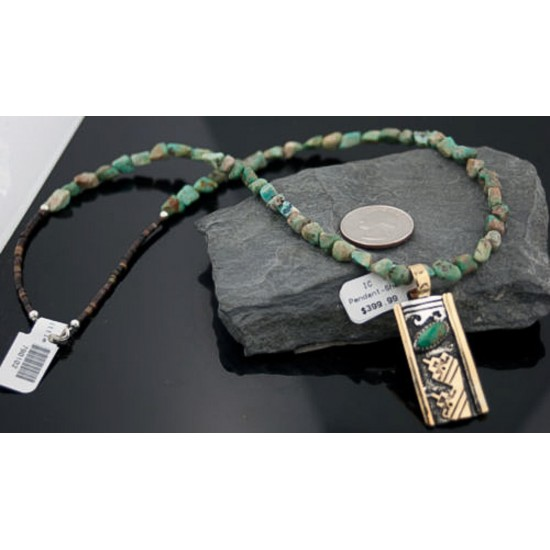 12kt Gold Filled Handmade Wave Certified Authentic .925 Sterling Silver Navajo Turquoise Native American Necklace 390646384025 All Products 390646384025 390646384025 (by LomaSiiva)