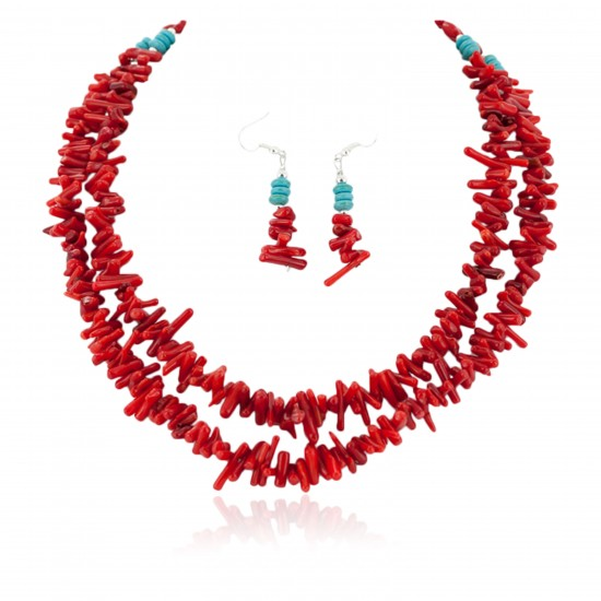 2 Strand Certified Authentic Navajo .925 Sterling Silver Hooks Coral Earrings and Native American Necklace Set 17012-18105-2 Sets NB151211203840 17012-18105-2 (by LomaSiiva)