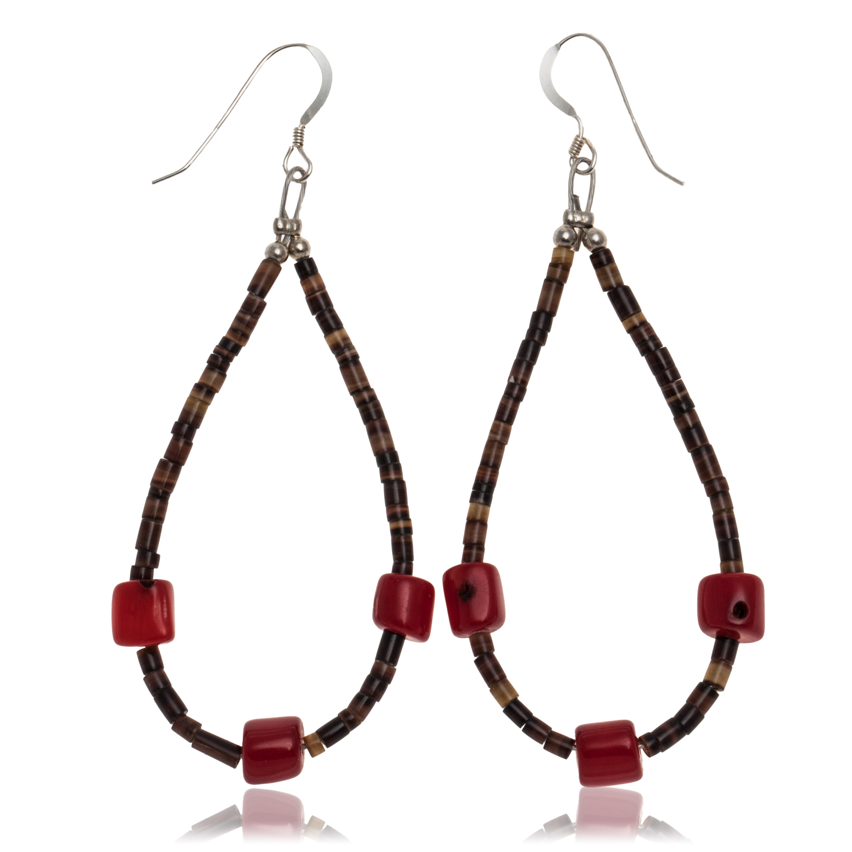 Coral .925 Sterling Silver Hooks Certified Authentic Navajo Native American Hoop Dangle Earrings 27281