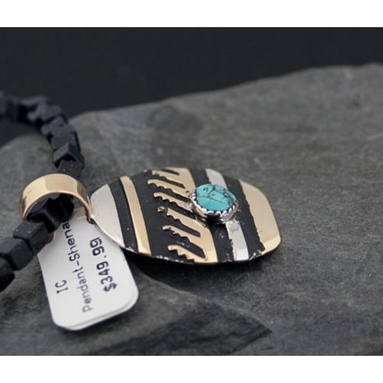 12kt Gold Filled Handmade Wave Certified Authentic .925 Sterling Silver Navajo Turquoise Native American Necklace 391123754524 All Products 370879622963 391123754524 (by LomaSiiva)
