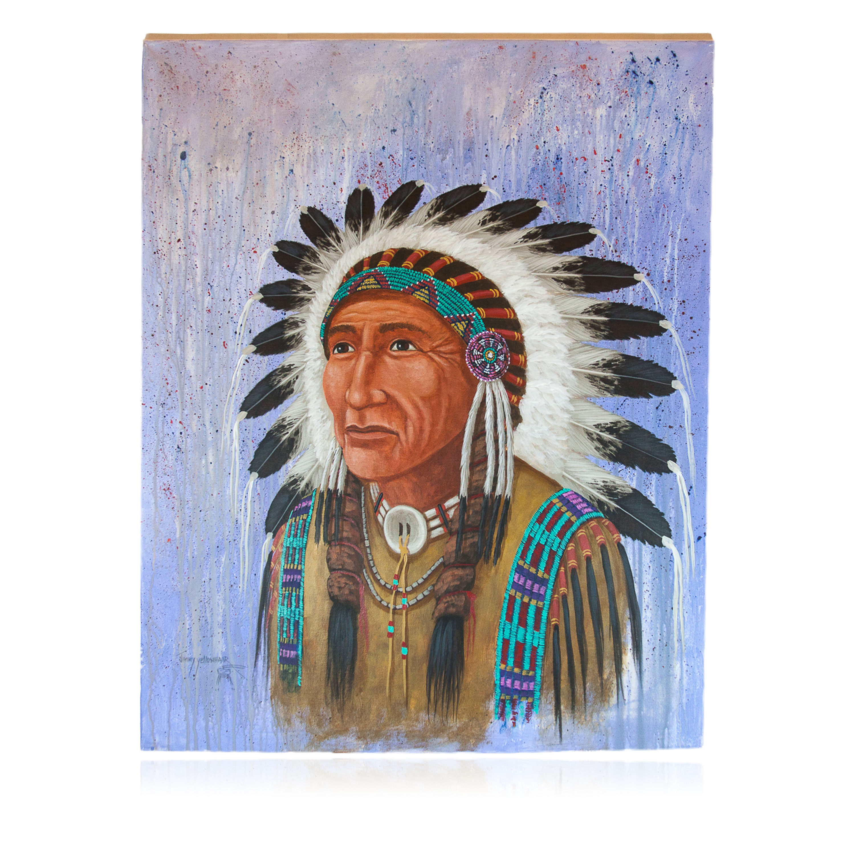 $600 Navajo Indian Chief Painted by Certified Authentic Acrylic Native American Painting  10799 Painting NB160310233920 10799 (by LomaSiiva)