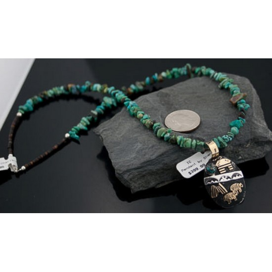 12kt Gold Filled and .925 Sterling Silver Handmade Story Teller Certified Authentic Navajo Turquoise 13 Native American Necklace 370879681248 All Products 370879681248 370879681248 (by LomaSiiva)