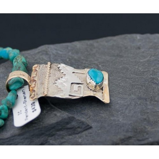 Certified Authentic 12kt Gold Filled and .925 Sterling Silver Handmade Mountain Turquoise Native American Necklace 370922151544 All Products 370922151544 370922151544 (by LomaSiiva)