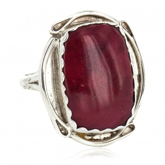 .925 Sterling Silver Certified Authentic Navajo Handmade Natural Red Jasper Native American Ring 18188-6 All Products NB160212212426 18188-6 (by LomaSiiva)