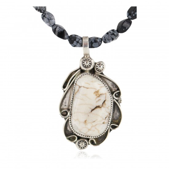 .925 Sterling Silver Certified Authentic Navajo Natural White Buffalo Snowflake Obsidian Native American Necklace 18279-3-16037-6 All Products NB160430205254 18279-3-16037-6 (by LomaSiiva)