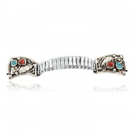 .925 Sterling Silver Handmade Certified Authentic Navajo Natural Turquoise Coral Native American Watchband 1131 All Products NB160319222247 1131 (by LomaSiiva)