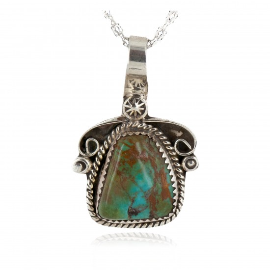 .925 Sterling Silver Handmade Certified Authentic Navajo Natural Turquoise Native American Necklace  12816 Pendants NB151202221732 12816 (by LomaSiiva)