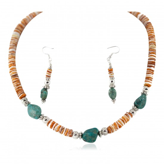 .925 Sterling Silver Hooks Certified Authentic Navajo Natural Turquoise and Graduated Spiny Oyster Native American Set 95006-1-97009-1 Sets NB160220222915 95006-1-97009-1 (by LomaSiiva)