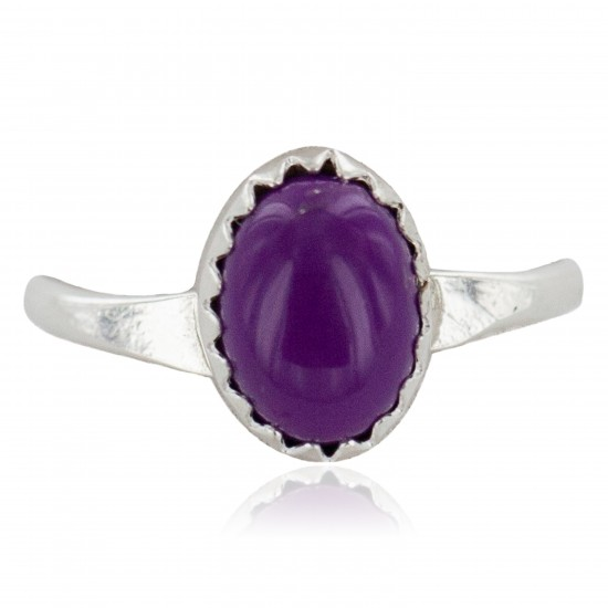 .925 Sterling Silver Navajo Certified Authentic Handmade Natural Sugilite Native American Ring Size 6 24506-5 All Products NB160409192124 24506-5 (by LomaSiiva)