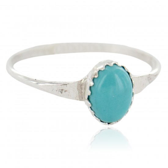 .925 Sterling Silver Navajo Certified Authentic Handmade Natural Turquoise Native American Ring Size 4 1/2 24503-7 All Products NB160409223655 24503-7 (by LomaSiiva)