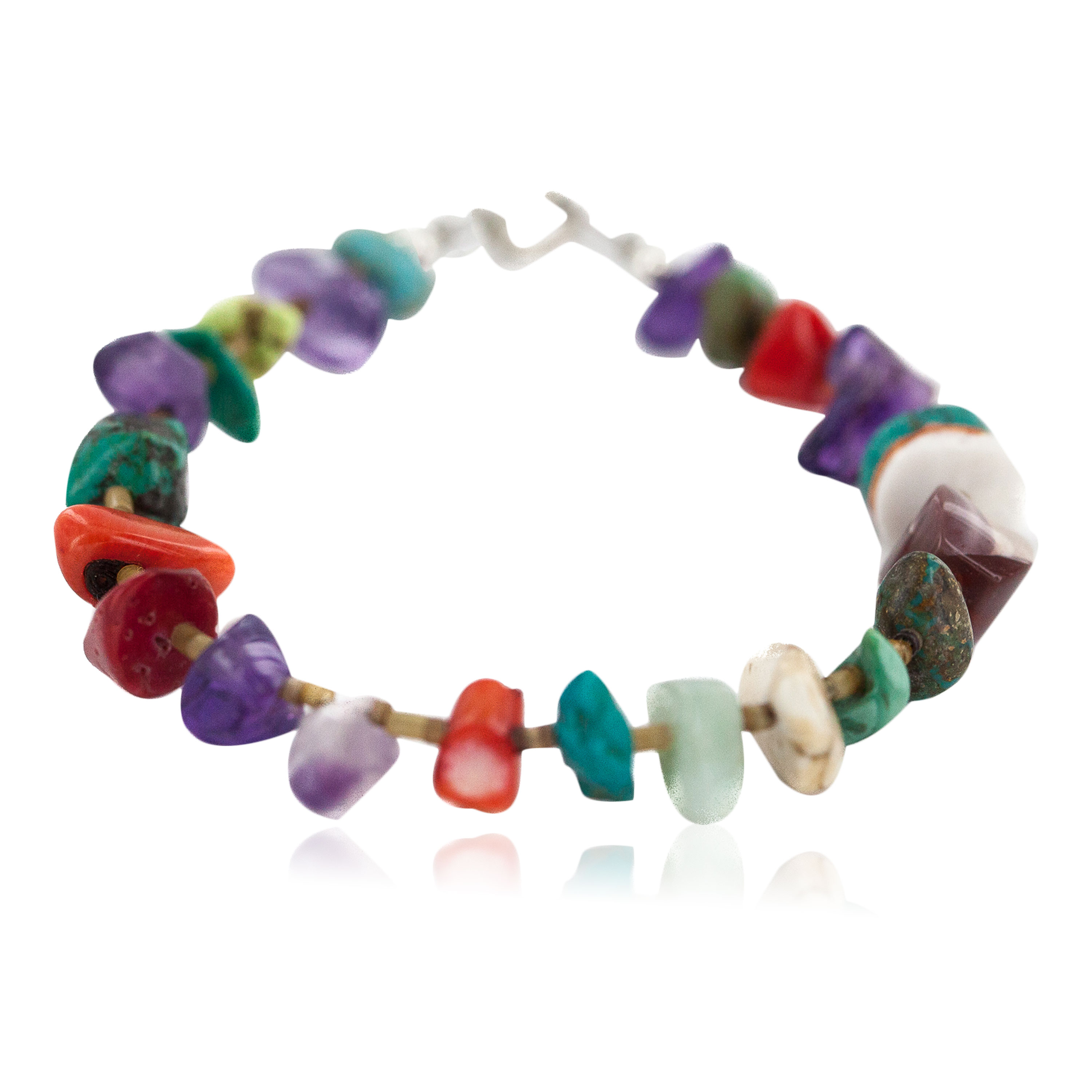 .925 Sterling Silver Navajo Certified Authentic Natural Turquoise Multicolor Stones Native American Bracelet 13174-1 All Products NB160514192249 13174-1 (by LomaSiiva)