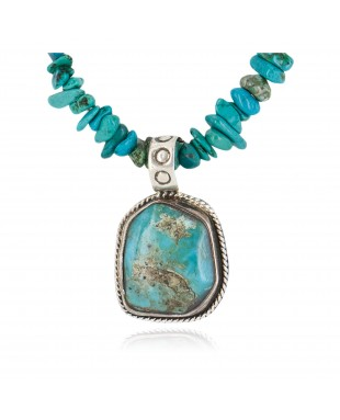 .925 Sterling Silver Navajo Certified Authentic Natural Turquoise Native American Necklace 14807-20-15222