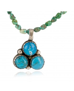.925 Sterling Silver Navajo Certified Authentic Turquoise Coral Native American Necklace 14785-12-790102