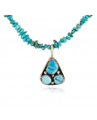 .925 Sterling Silver Navajo Certified Authentic Turquoise Native American Necklace 15215-1577