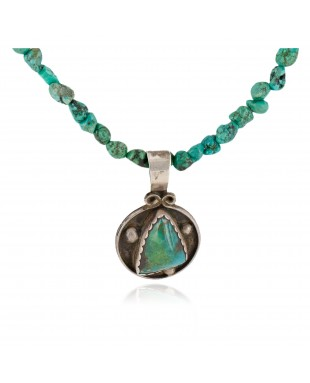 .925 Sterling Silver Navajo Certified Authentic Turquoise Quartz Native American Necklace 14545-15-790102