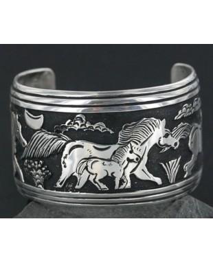 .925 Sterling Silver Sterling Handmade Horse Certified Authentic Navajo Storyteller Native American Bracelet 390673566471