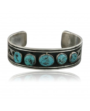 .925 Sterling Silver Sterling Handmade Wave Certified Authentic Navajo Turquoise Native American Bracelet 390696606977