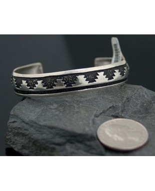 .925 Sterling Silver Sterling Silver Handmade Mountain Certified Authentic Navajo Native American Bracelet 370914059281