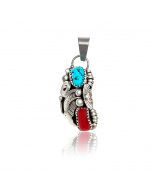 Flower .925 Sterling Silver Certified Authentic Handmade Navajo Native American Natural Turquoise and Coral Pendant 26211-1